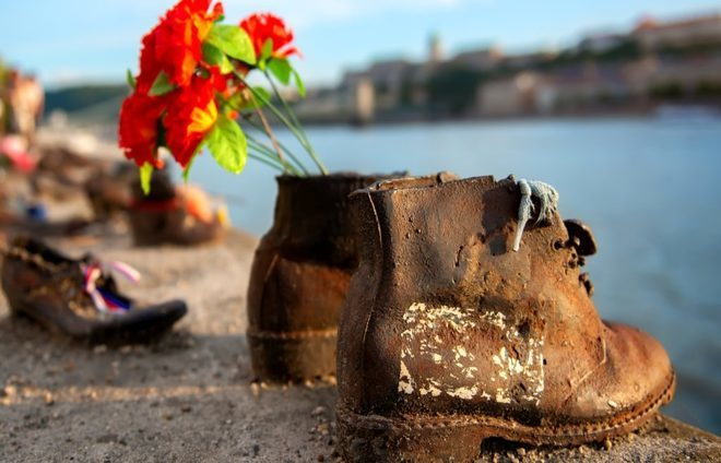 Encounter Shoes on the Danube – iron footwear that stands as a monument to the thousands executed along the bank of the Danube.