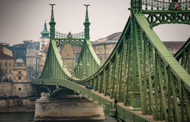 Liberty bridge over Danube river. Budapest city in background. Hungary, Europe.