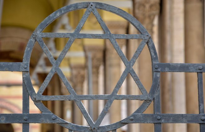 The Jewish star in a fence at a Synagogue in Budapest