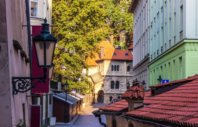 Czech-Jewish district and old synagogue in Prague downtown
