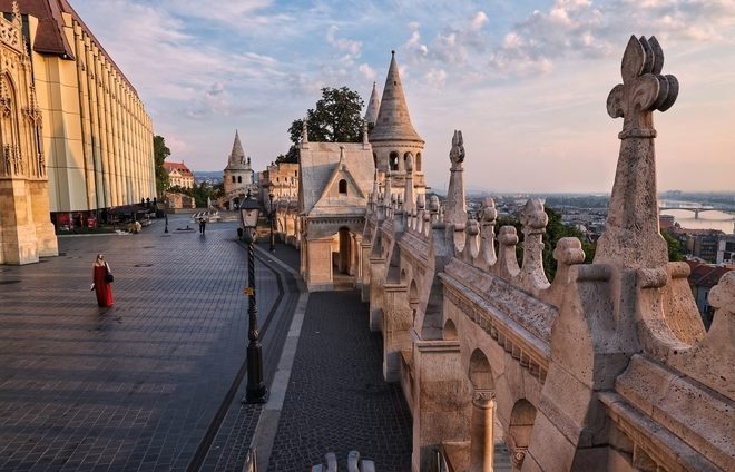 Enjoy a panoramic view of Budapest from the Fisherman's Bastion lookout.