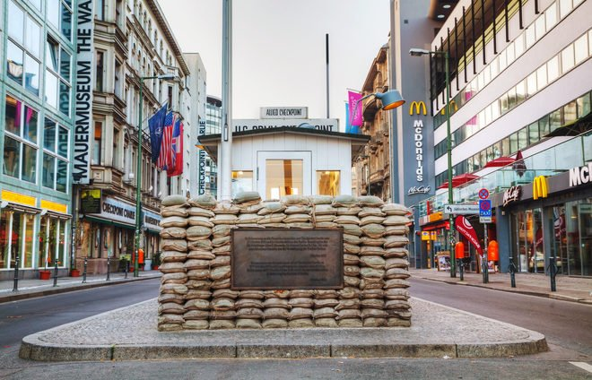 Checkpoint Charlie was one of the most famous crossing points between East and West Berlin during the Cold War and was frequently featured in spy movies and books.