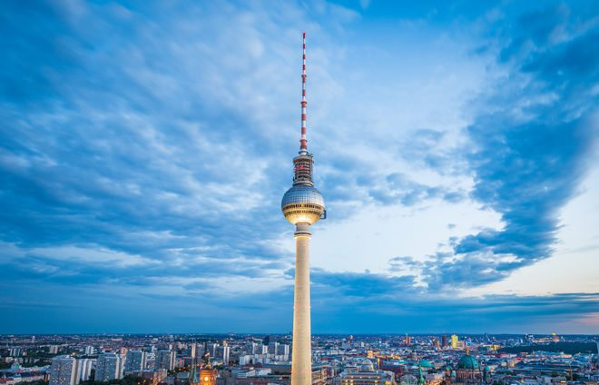 Germany-Aerial view of Berlin skyline with famous TV tower
