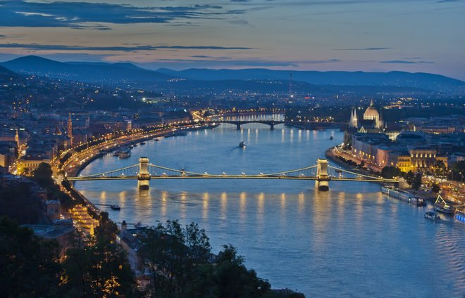Budapest by night, view on the Danube river and the Chain Bridge