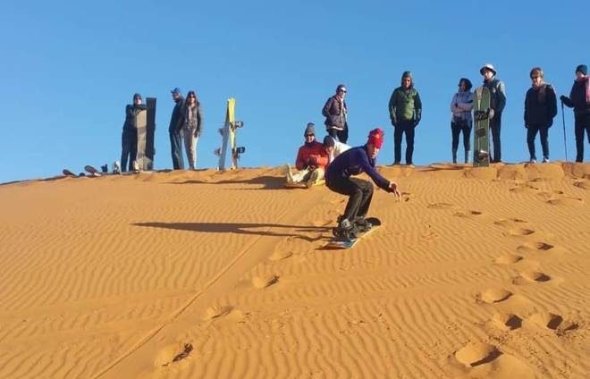 Sand snowboarding in Morocco