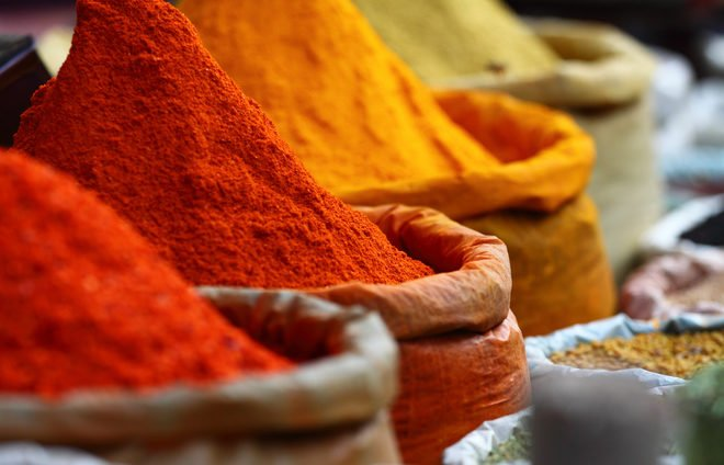 Morocco-Traditional spices market