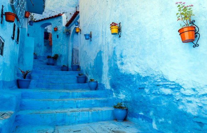 Chefchaouen is a blue city in the north of Morocco.