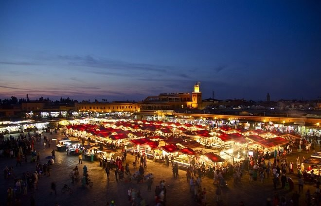Encounter the Djemaa El Fna Square – an enormous marketplace teeming with life and one of Africa's most astonishing sites. Get ready for amazement and a daily carnival of snake-charmers, street vendors, musicians, storytellers, and acrobats.
