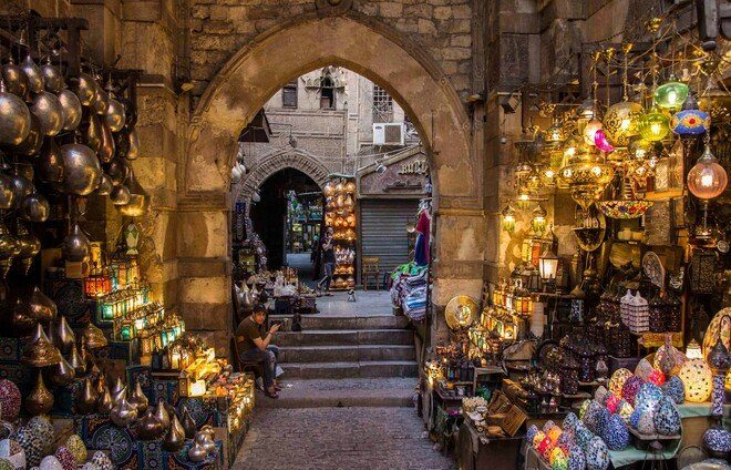 Check out the Khan el-Khalili, located in the heart of old Cairo. You'll get the chance to wander on your own through this famous market, where Cairenes have come for centuries to shop, haggle, meet, and eat. It's a medieval-style mall renowned for its gold, coppersmiths, and spices.