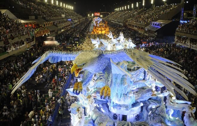 Stop at the Sambadrome, a parade area in downtown Rio, where samba schools parade competitively each year during the Rio Carnival.