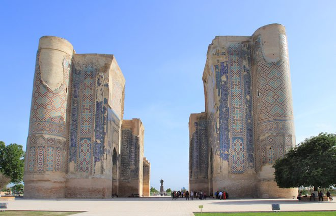 Tour the major landmarks of Shahrisabz, including the Ak-Saray Palace, nicknamed The White Palace, and the giant Kok Gumbaz Mosque.