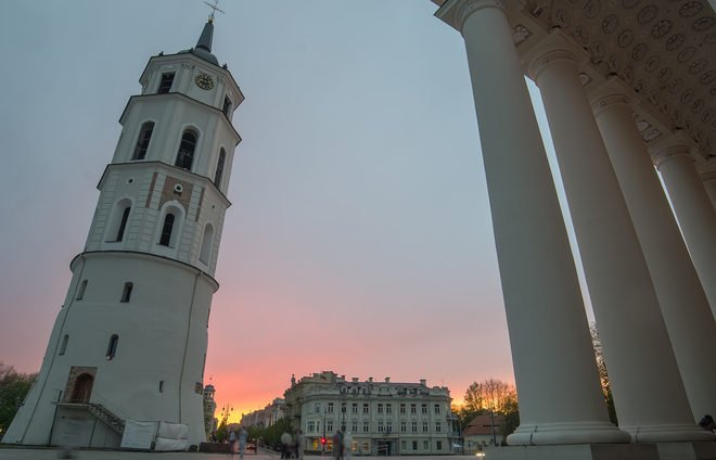 Sunset in Cathedral Square of Vilnius, Lithuania