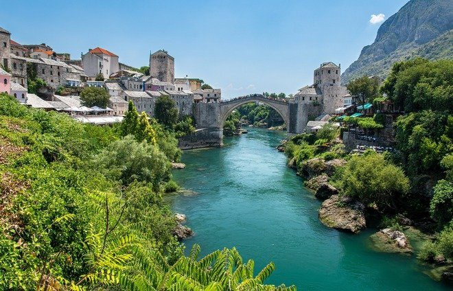 Spend time in Mostar, which is famous for the Balkans' most celebrated bridge. The Old Bridge (Stari Most), built during the time of Suleiman the Magnificent in 1557, is one of Bosnia and Herzegovina's most recognizable landmarks, and is considered one of the most exemplary pieces of Islamic architecture in the Balkans.