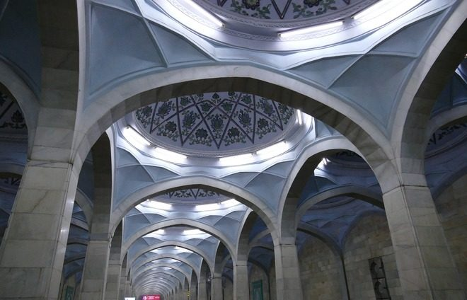 Discover one of the underground train stations in Tashkent, which are practically museums of marble and granite, and ride the underground.