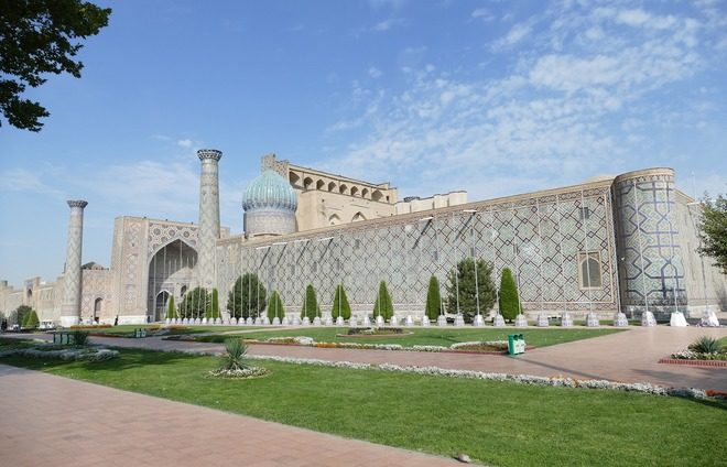 Visit Samarkand, a city that was the economic, cultural, and intellectual center of Asia in the 14th to 15th centuries.